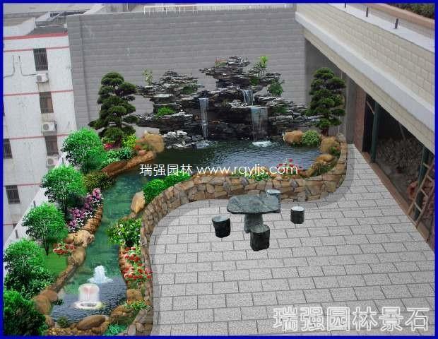 阳台花园鱼池假山效果图
