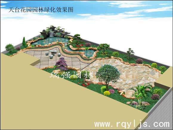 茂名杨生天台花园鱼池假山景观效果图