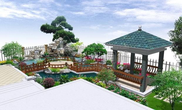 别墅花园英德石假山鱼池景观效果图
